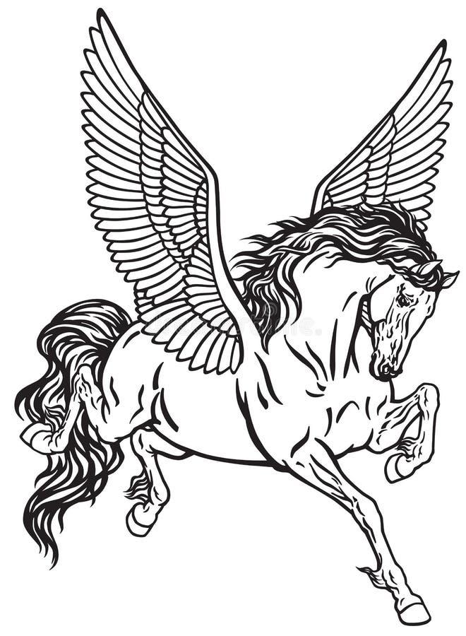 佩格瑟斯神话飞过的马 黑白纹身花刺传染媒介 库存例证