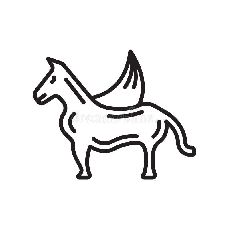 佩格瑟斯象在白色背景和标志隔绝的传染媒介标志 皇族释放例证