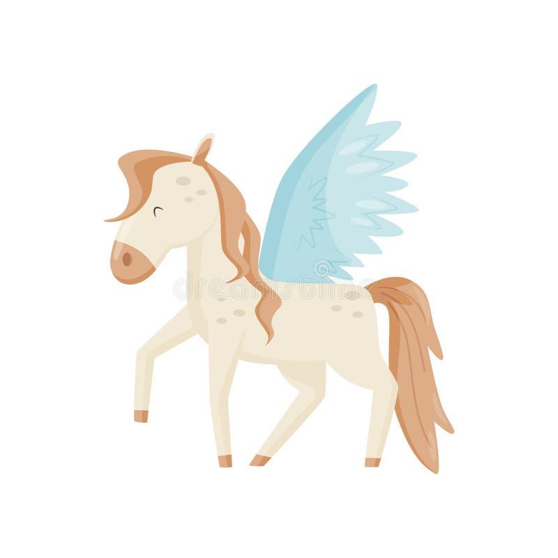 佩格瑟斯飞过了马,神话人物在白色背景的传染媒介例证 库存例证