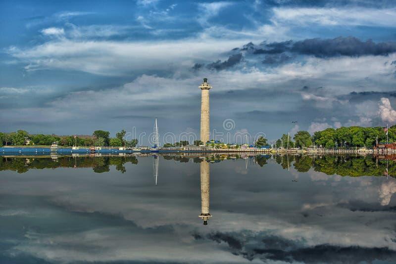 佩里在海湾投入的` s纪念碑 库存照片