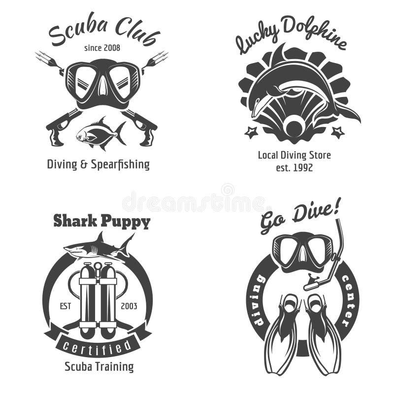 佩戴水肺的潜水俱乐部标号组 潜泳 库存例证