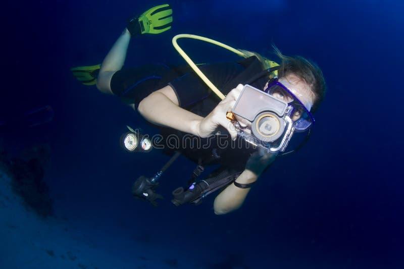 佩戴水肺的潜水在泰国 库存图片