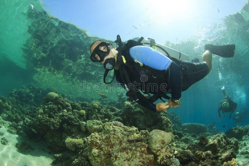 佩戴水肺的潜水 图库摄影