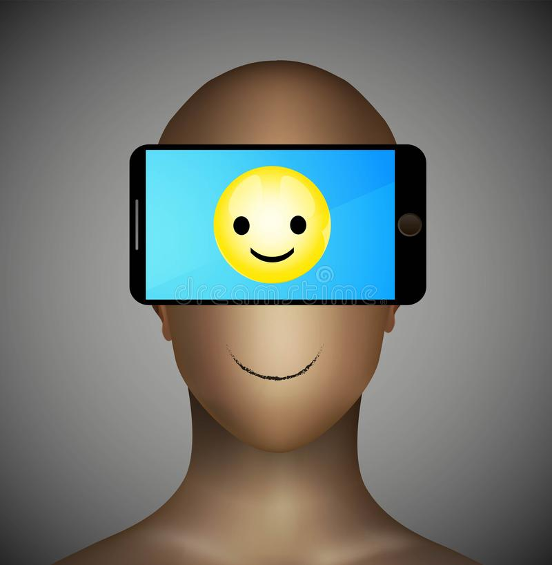 使上瘾对智能手机概念,仅正常通信设备的问题使用,在智能手机的兴高采烈的象, 皇族释放例证