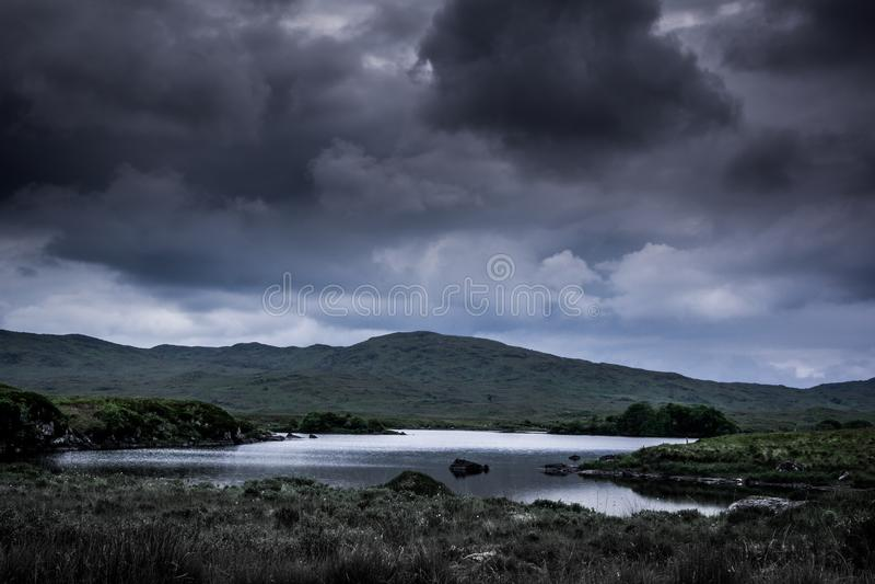 使上面蓝色湖和黑暗的多云天空环境美化看法  免版税库存图片