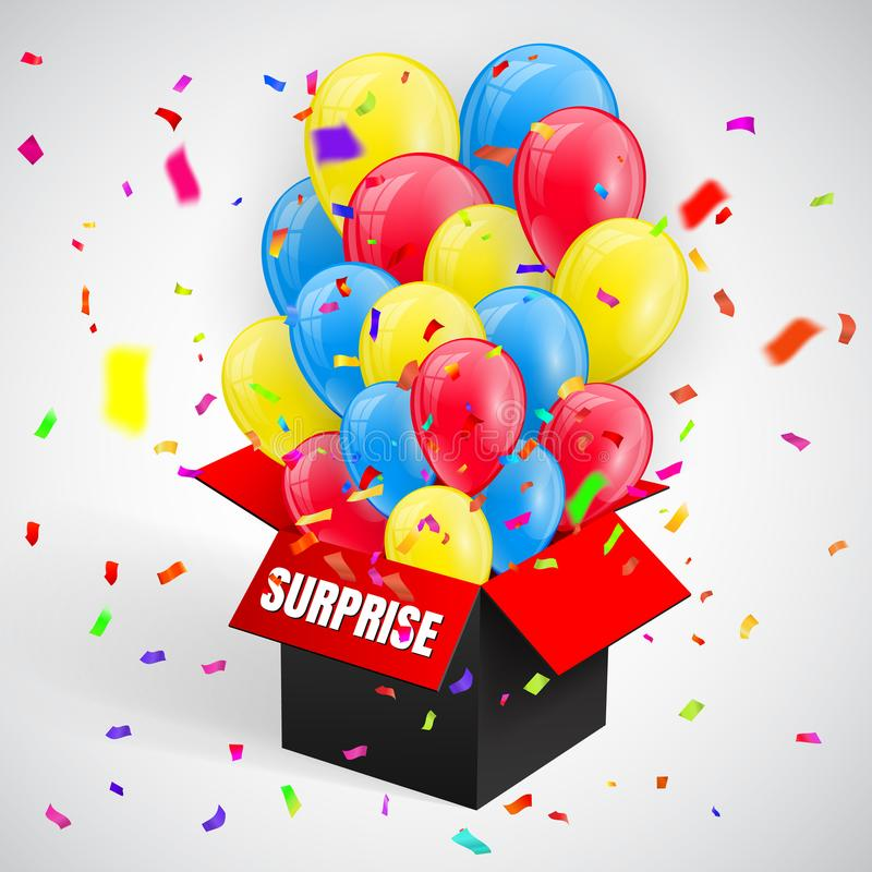 使与五彩纸屑和气球束飞行的海报惊奇从开放红色箱子 也corel凹道例证向量 向量例证