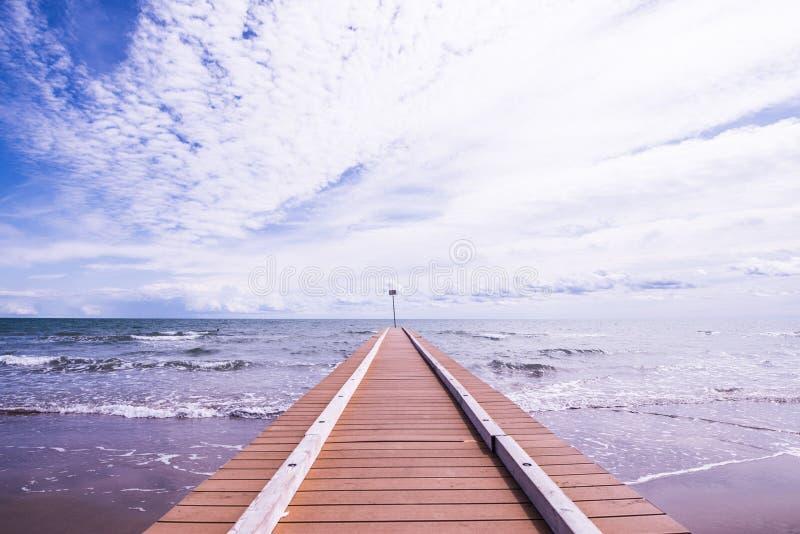 使与海的码头和波浪的风景靠岸沙子的 免版税库存图片