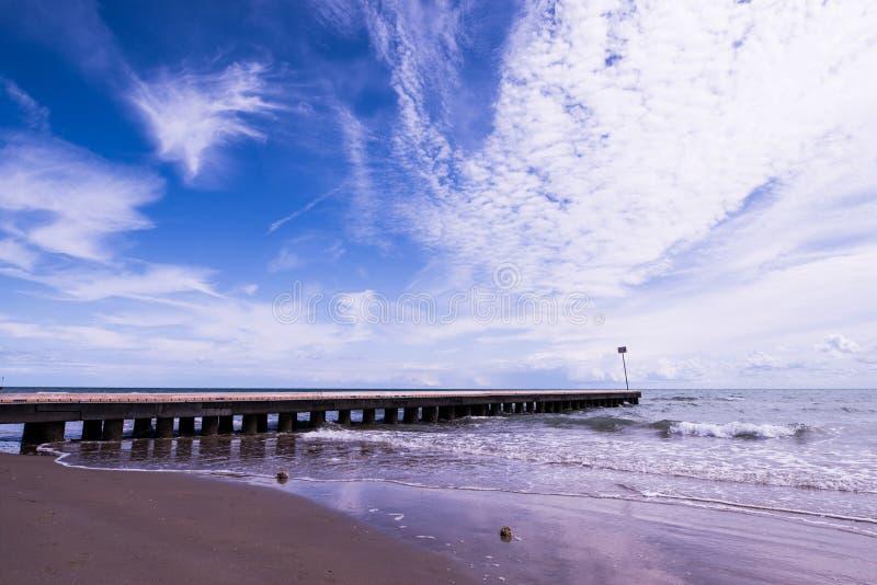 使与海的码头和波浪的风景靠岸沙子的 库存照片
