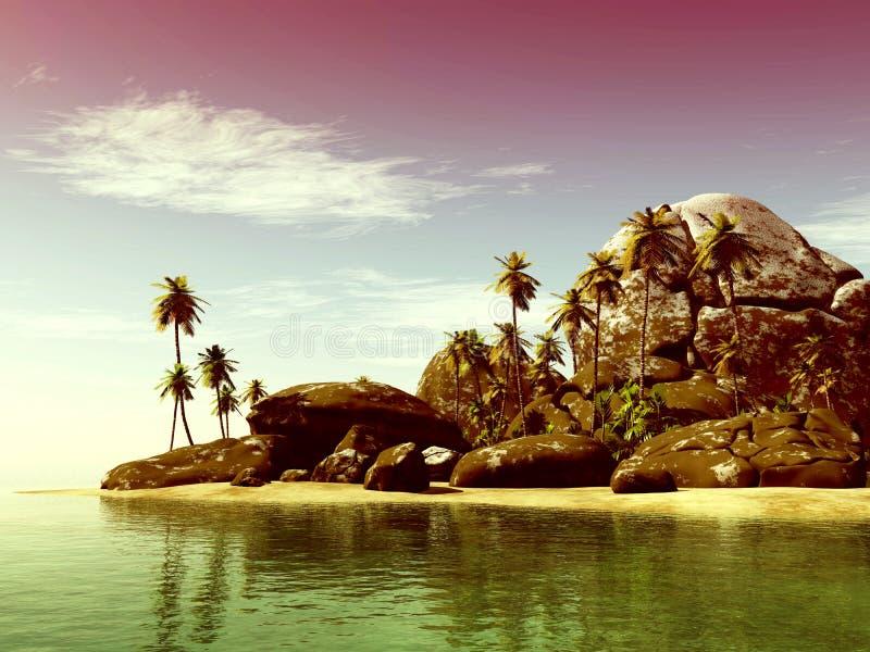 使与的海景视图靠岸大石头和palmtree 免版税库存照片