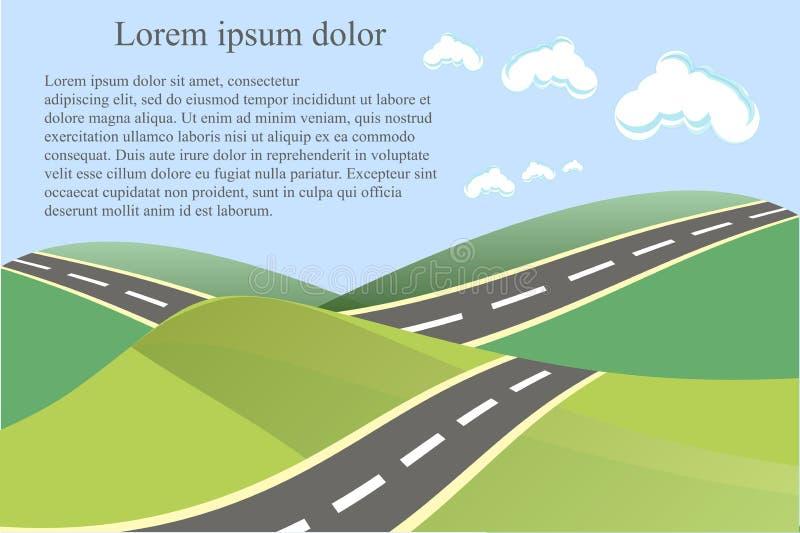使与绿色脚跟和灰色路,白色云彩的背景环境美化 向量例证