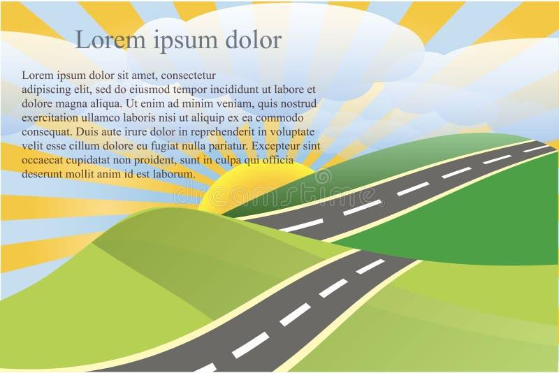 使与绿色脚跟和灰色路,白色云彩,黄色太阳, Lorem Ipsum的背景环境美化 库存例证