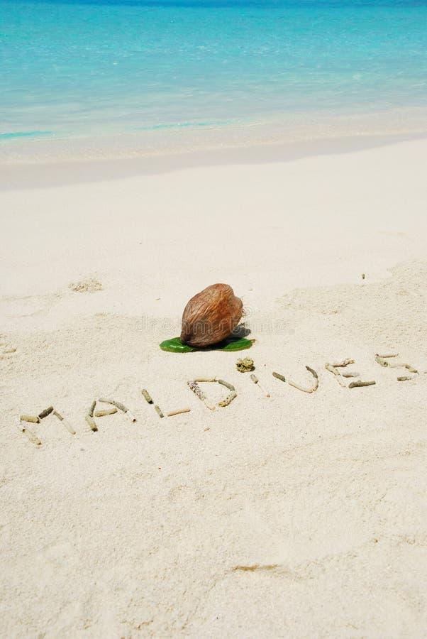 使书面的马尔代夫靠岸 免版税库存照片