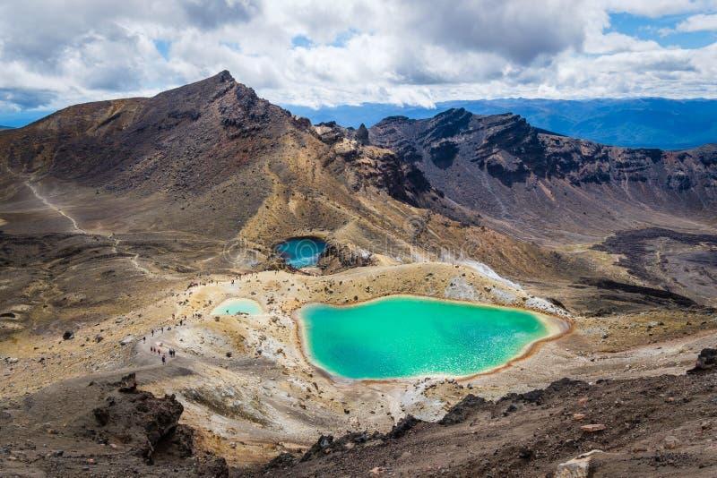 使五颜六色的鲜绿色湖和火山的风景环境美化, NZ看法  免版税库存图片