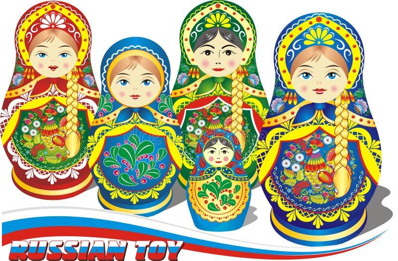 使俄语套入的玩偶 库存例证