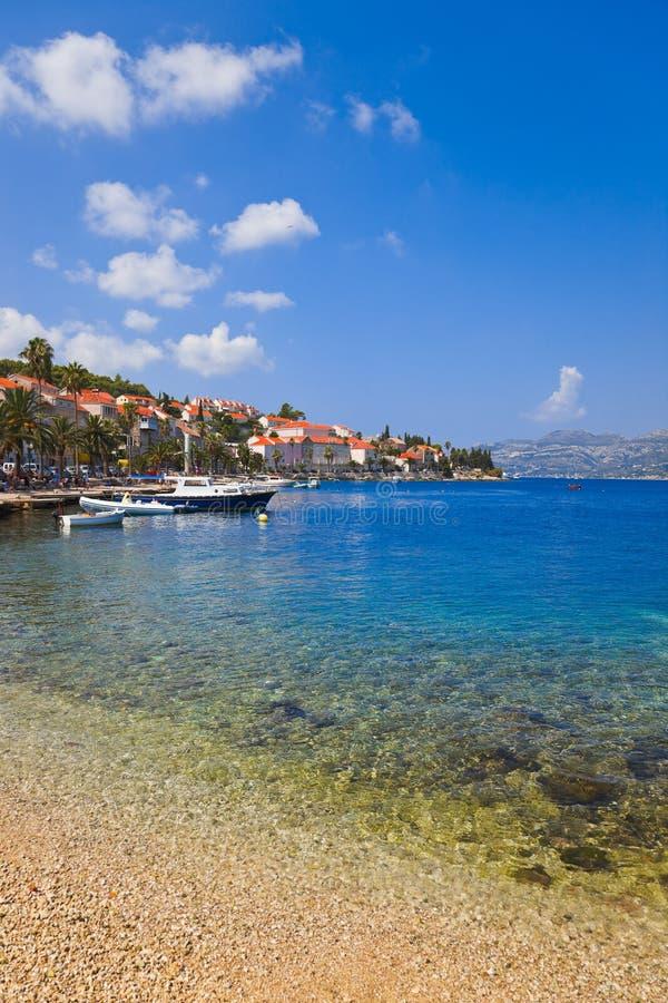 使克罗地亚korcula靠岸 免版税库存图片