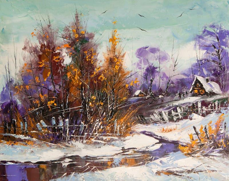 使农村冬天环境美化 免版税库存照片