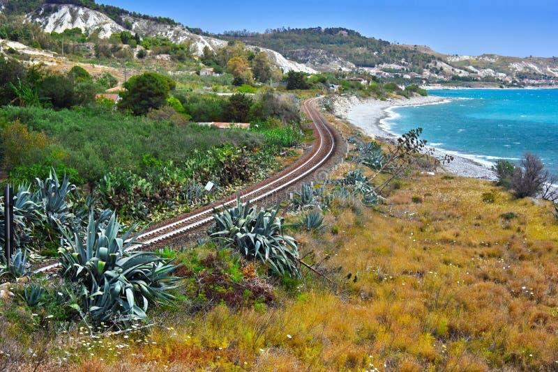 使卡拉布里亚,意大利的南部的海岸的看法环境美化 库存图片