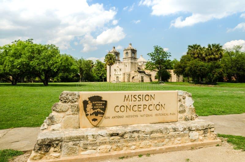 使命康塞普西翁角在圣安东尼奥得克萨斯 免版税库存图片
