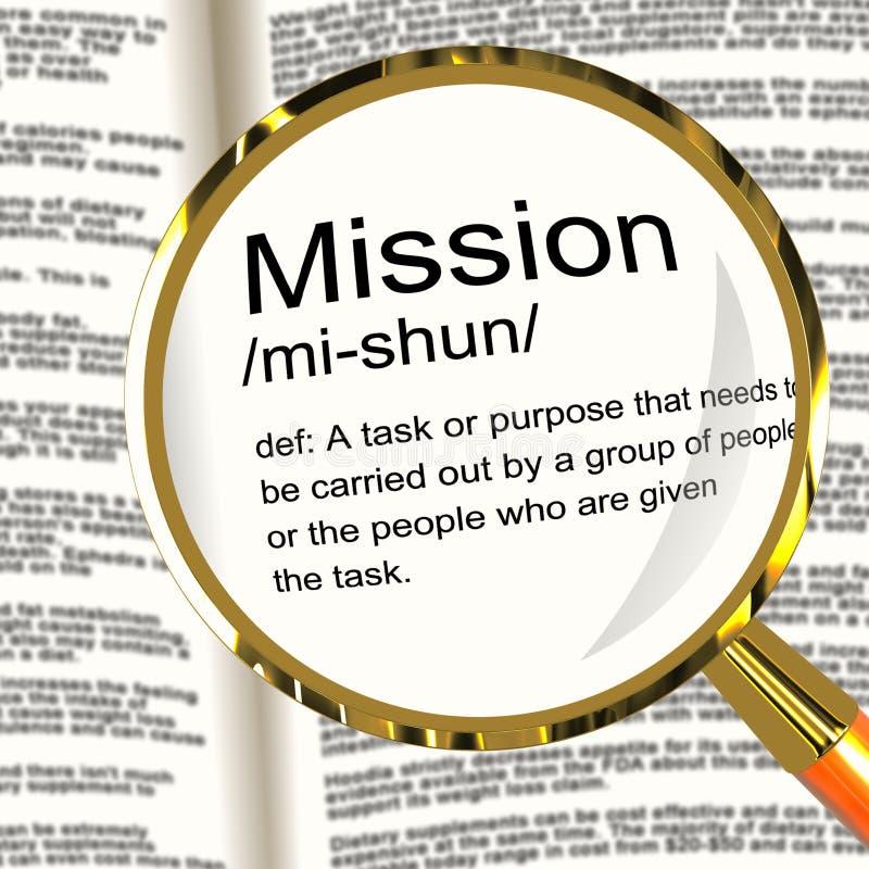 使命显示任务目标或任务的定义放大器 向量例证