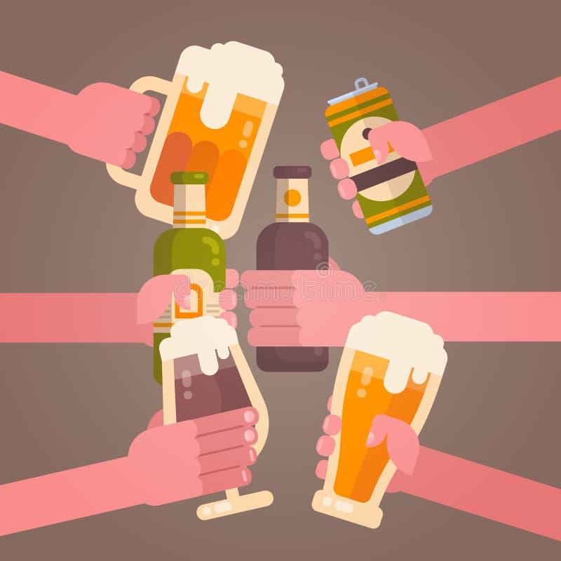 使啤酒欢呼的党庆祝节日概念叮当响的人手 皇族释放例证