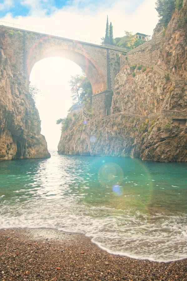 使在小峡湾的俯视的老桥梁靠岸在日落 库存图片