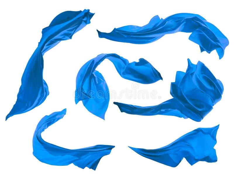 使在白色背景隔绝的典雅的蓝色缎光滑 库存图片