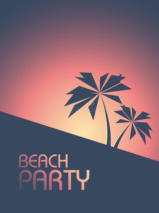 使在20世纪80年代减速火箭的样式颜色的党海报靠岸 夏天与棕榈树的日落飞行物 向量例证