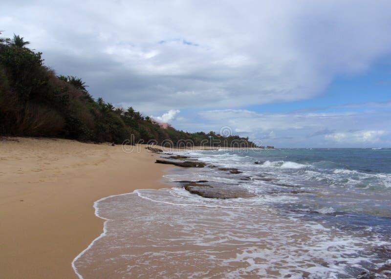 使在水和脚印刷品的岩石靠岸 免版税库存照片