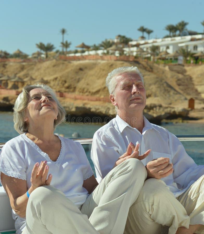 使夫妇开会靠岸 库存照片
