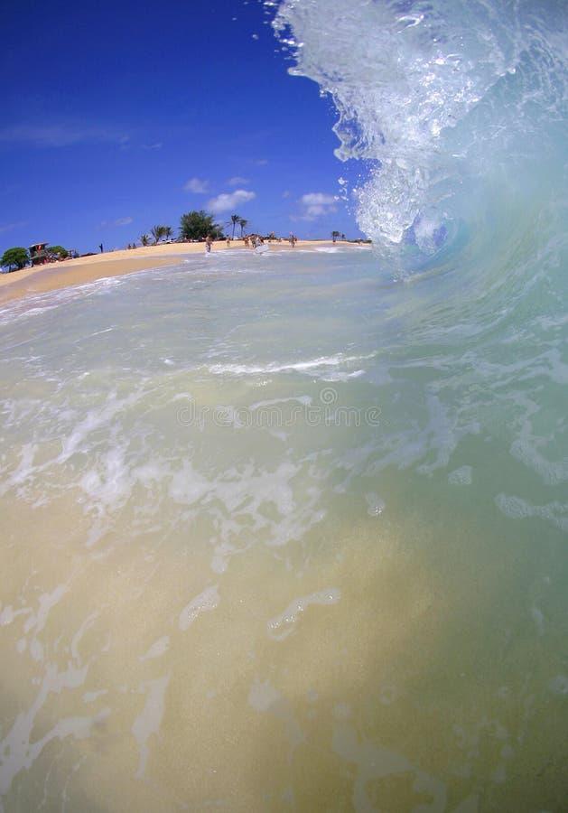 使失败的夏威夷含沙的奥阿胡岛靠岸 库存照片
