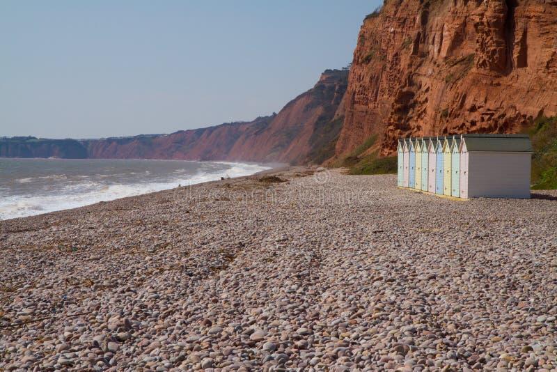 Budleigh Salterton海滩小屋德文郡英国 图库摄影