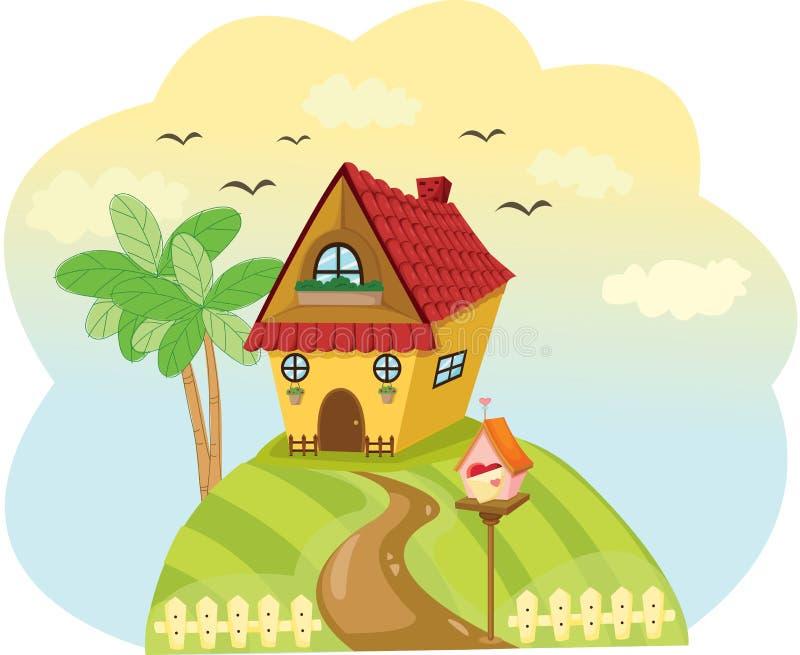使小山的上面环境美化逗人喜爱的房子  向量例证