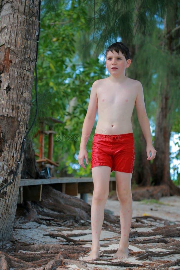 使少年的男孩靠岸 免版税库存图片