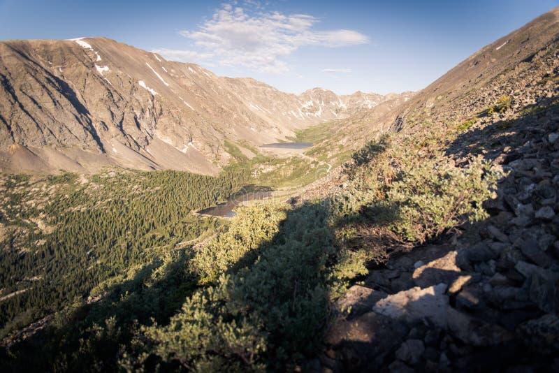 使山围拢的高山湖环境美化看法 免版税库存照片