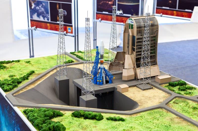 使布局太空火箭联盟号环境美化在盖亚那太空中心 免版税图库摄影