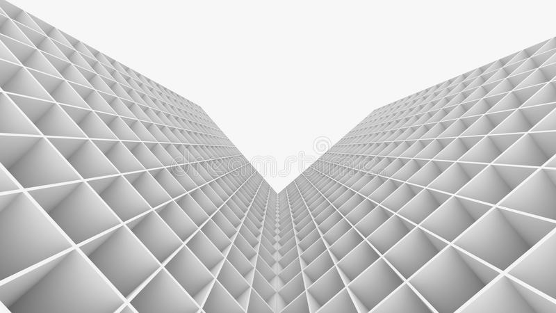 使抽象大厦的3D被隔绝在白色背景 向量例证
