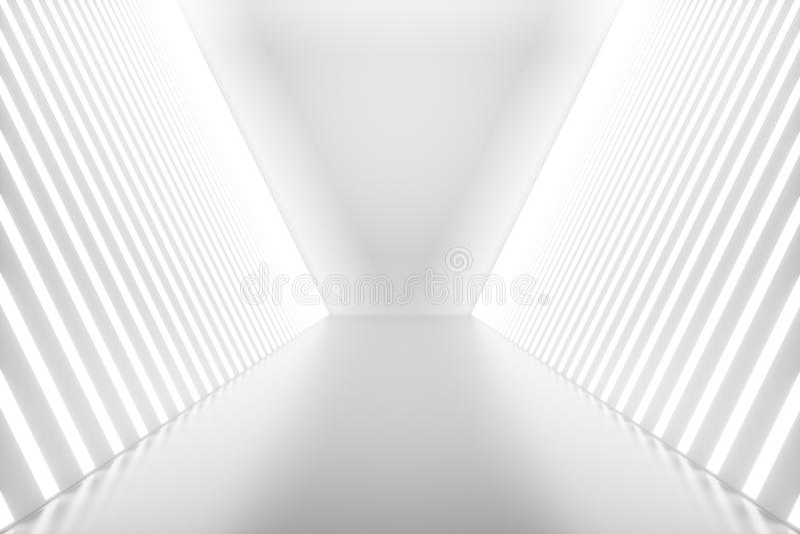 使抽象室的3D内部与霓虹灯 未来派结构的背景 您的设计的大模型 库存例证