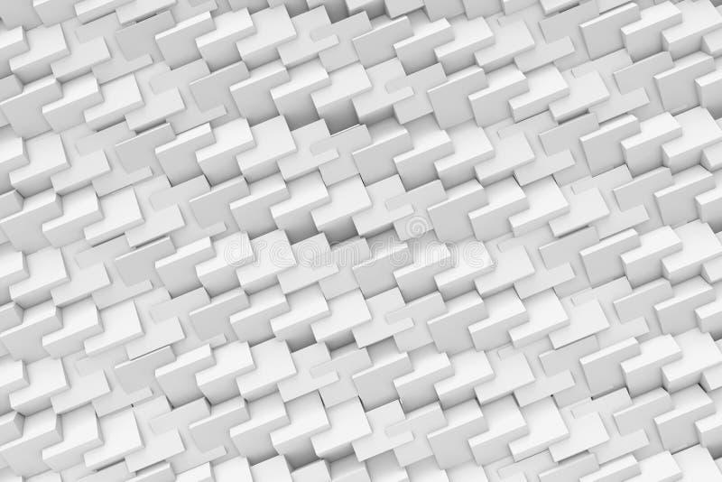 使抽象纹理由重复的雕琢平面的立方体制成在白色背景 皇族释放例证