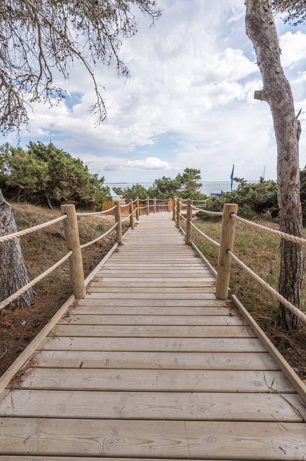 使方式靠岸对盐沼靠岸在Ibiza拜雷阿尔斯islan 图库摄影