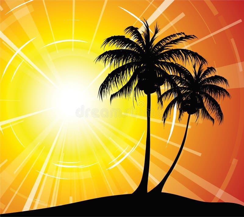 使日落靠岸 向量例证