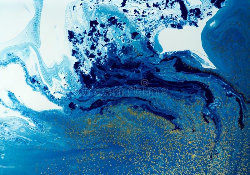 使有大理石花纹的蓝色和金黄抽象背景 液体大理石样式 图库摄影