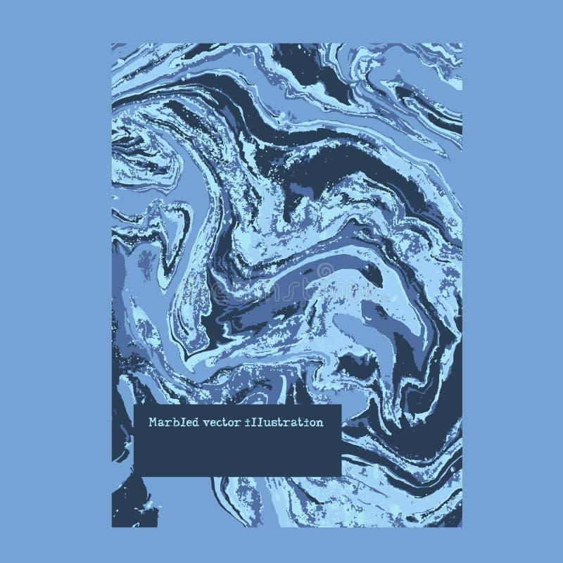 使有大理石花纹的蓝色抽象背景 液体大理石样式 传染媒介流体纹理 广告业商业人打算衬衣适当的t模板妇女 皇族释放例证