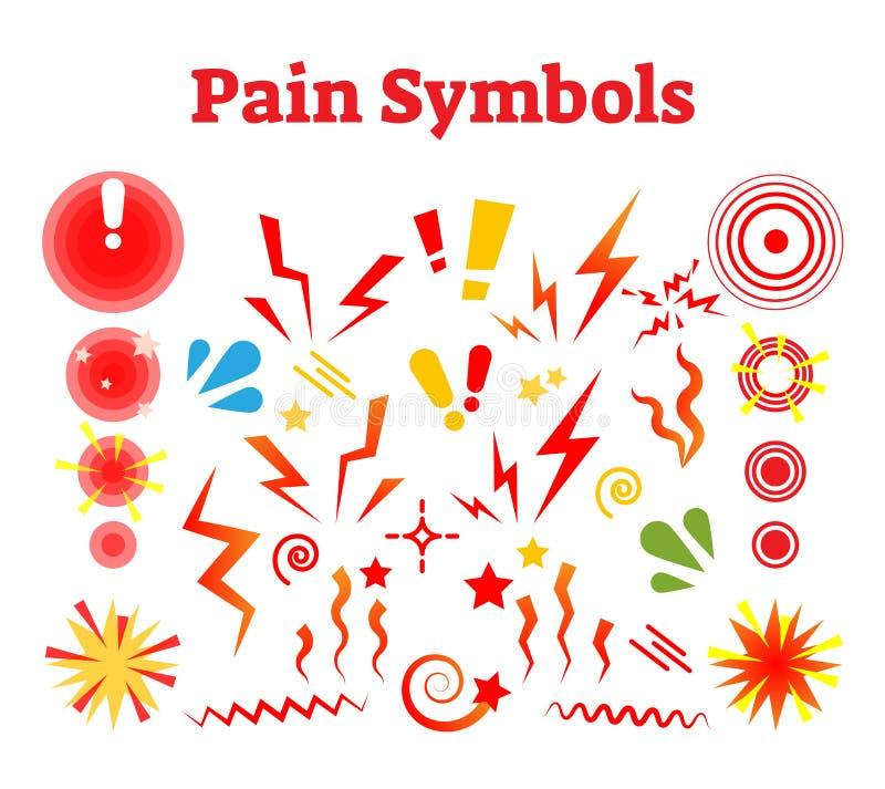 使标志痛苦,导航例证以损伤,碰撞并且酸疼标志 皇族释放例证
