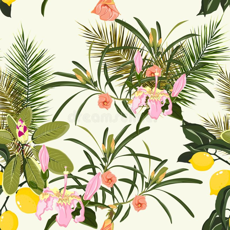 使棕榈树和柠檬热带绿色叶子靠岸夏天夏威夷无缝的样式墙纸  库存例证