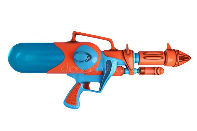 使水枪橙色和蓝色的侧视图3D上色isola 库存例证