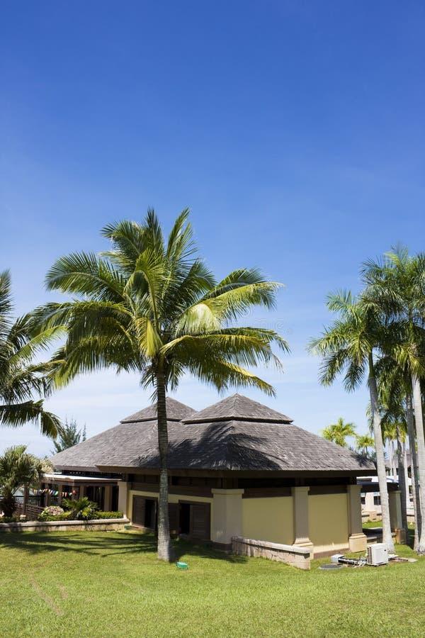 使汶莱热带大厦的手段靠岸 免版税图库摄影