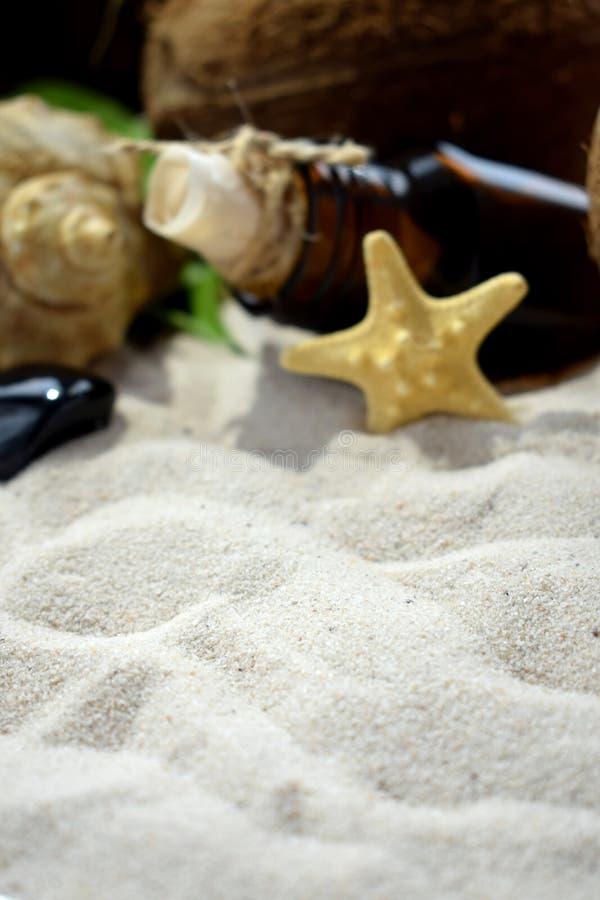 使沙子、瓶有里面信件的,贝壳和海星靠岸 免版税库存照片