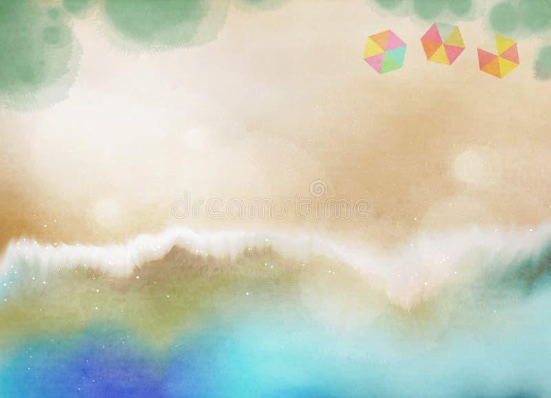 使海岸塞浦路斯地中海沙子石头夏天海浪靠岸 抽象背景颜色水 数字式艺术油漆 库存图片