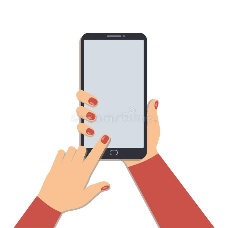 使用一个手机的概念 有修指甲藏品智能手机的逗人喜爱的妇女手,当其他新闻屏幕隔绝了o时 向量例证
