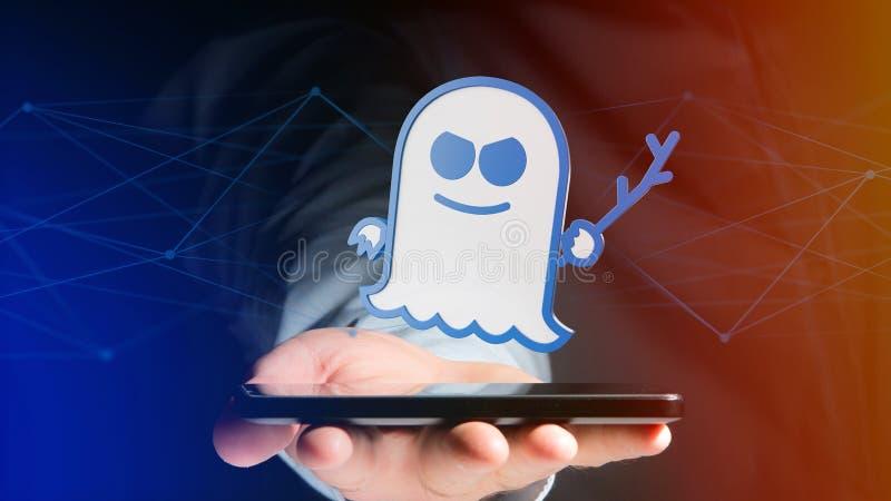 使用一个智能手机的商人有幽灵处理器攻击的w 免版税库存照片